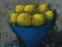 15 Lemons in Blue Vase, acrylic on canvas, 40x40 cm