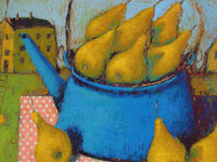 Pears in the Kettle, acrylic on canvas, 40x40 cm