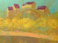 Love Prague. Golden, acrylic on canvas, 150x50 cm